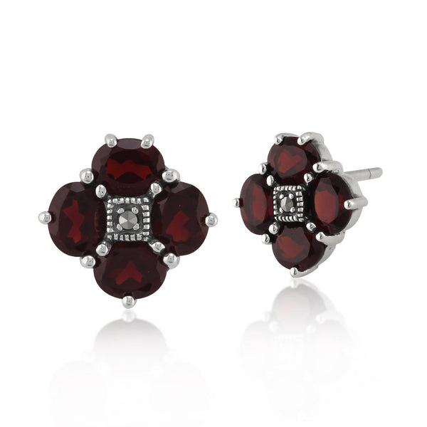 Art Nouveau Style Round Garnet & Marcasite Cluster Stud Earrings in 925 Sterling Silver