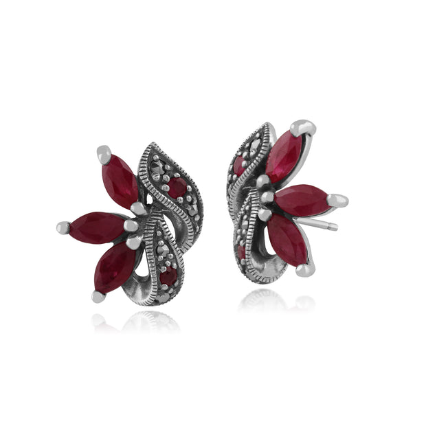Art Nouveau  Marquise Ruby & Marcasite Leaf Stud Earrings in 925 Sterling Silver