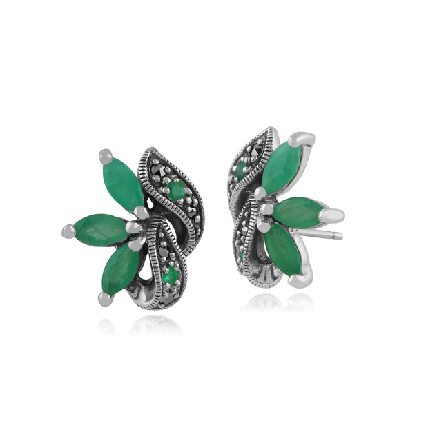 Art Nouveau Marquise Emerald & Marcasite Leaf Stud Earrings in 925 Sterling Silver