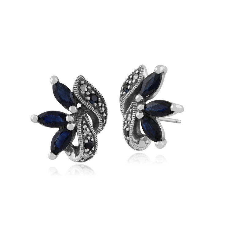 Art Nouveau Style Marquise Sapphire & Marcasite Leaf Stud Earrings in 925 Sterling Silver