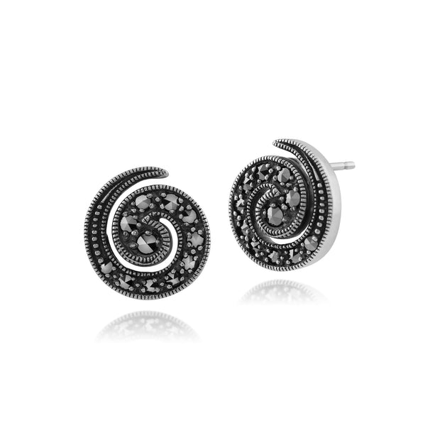 Art Nouveau Style Round Marcasite Spiral Stud Earrings in 925 Sterling Silver