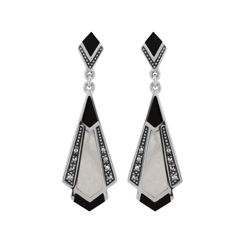 Art Deco Style Cabochon Black Onyx, Mother of Pearl & Marcasite Drop Earrings in 925 Sterling Silver