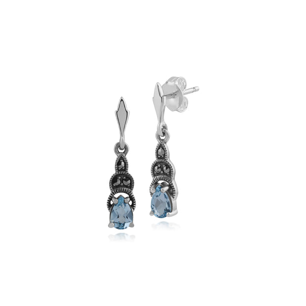 Art Deco Style Pear Blue Topaz & Marcasite Drop Earrings in 925 Sterling Silver