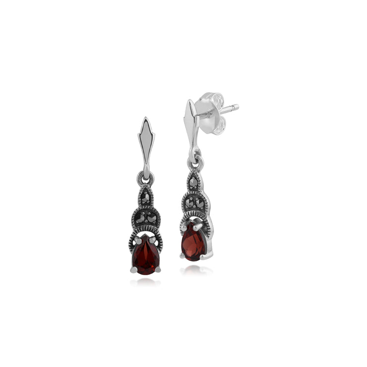 Art Deco Style Pear Garnet & Marcasite Drop Earrings in 925 Sterling Silver