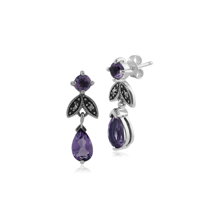 Art Deco Style Pear Amethyst & Marcasite Drop Earrings in 925 Sterling Silver