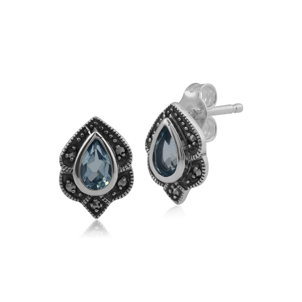Art Nouveau Style Pear Blue Topaz & Marcasite Leaf Stud Earrings in 925 Sterling Silver