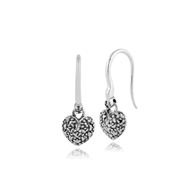 Classic Round Marcasite Heart Drop Earrings in 925 Sterling Silver