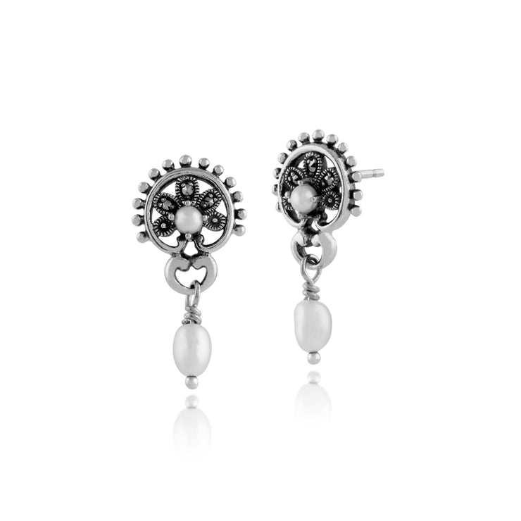 Floral Round Freshwater Pearl & Marcasite Drop Earrings in 925 Sterling Silver