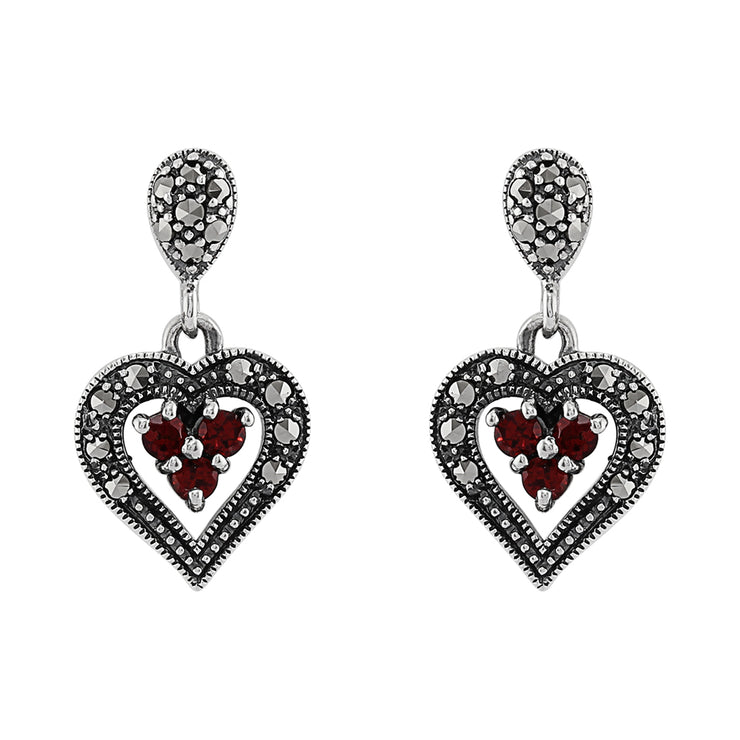 Art Deco Style Round Garnet & Marcasite Heart Earrings in 925 Sterling Silver