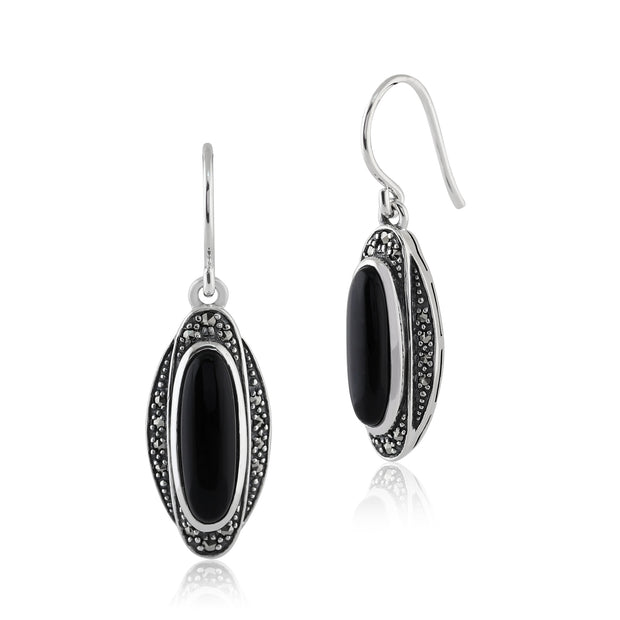 Art Deco Style Oval Black Onyx Cabochon & Marcasite Drop Earrings in 925 Sterling Silver