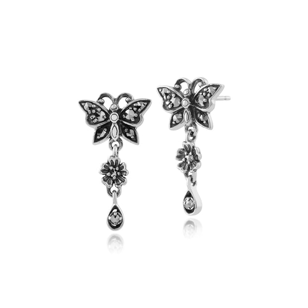 Art Nouveau Style Round Marcasite Butterfly Drop Earrings in 925 Sterling Silver