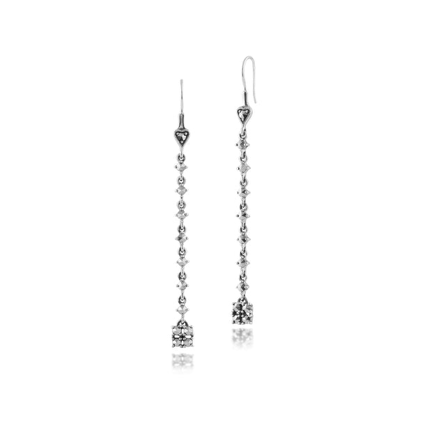 Art Deco Style Round Marcasite Long Dangle Drop Earrings in 925 Sterling Silver