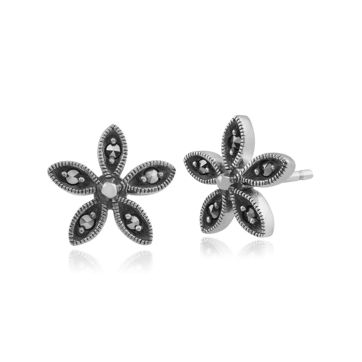 Floral Round Marcasite Flower Stud Earrings in 925 Sterling Silver