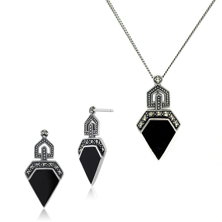Art Deco Black Onyx & Round Marcasite Stud Drop Earrings & Pendant Set Image 1
