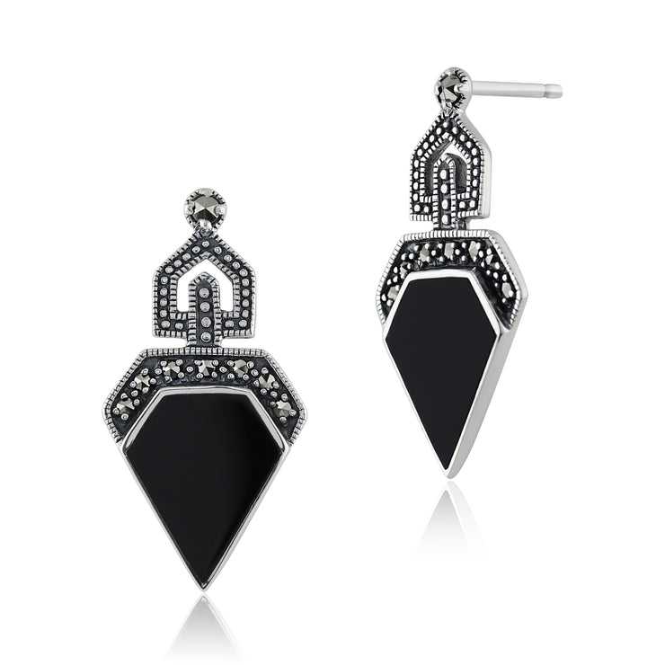 Art Deco Black Onyx & Round Marcasite Stud Drop Earrings & Pendant Set Image 2