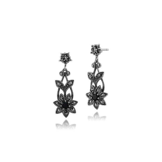 Art Nouveau Style Black Spinel & Marcasite Floral Drop Earrings in 925 Sterling Silver