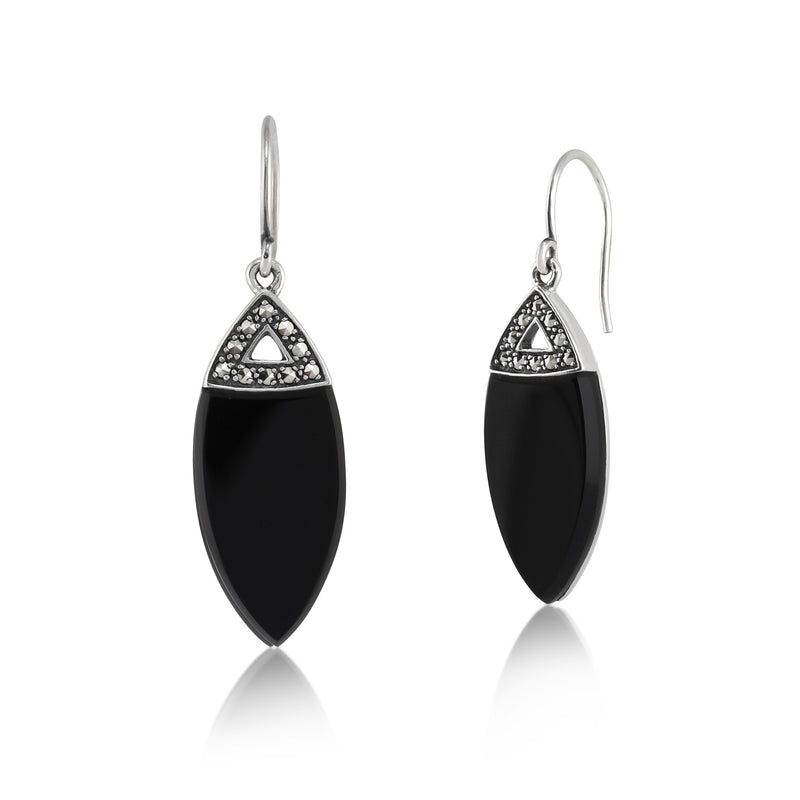 Art Deco Style Marquise Black Onyx & Marcasite Drop Earrings in 925 Sterling Silver