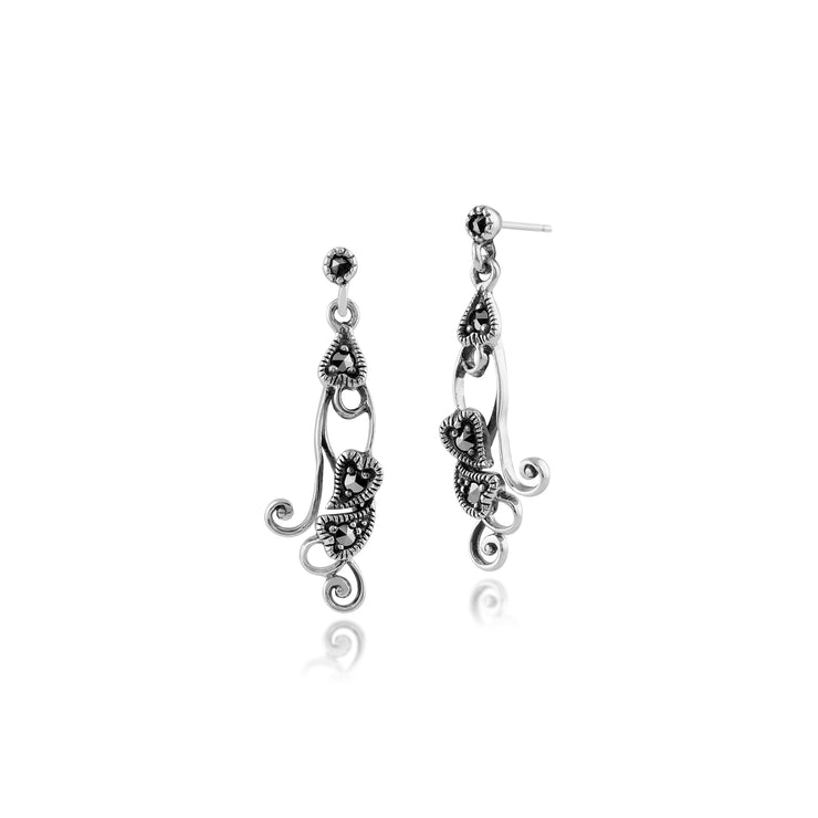 Art Nouveau Style Round Marcasite Drop Earrings in 925 Sterling Silver