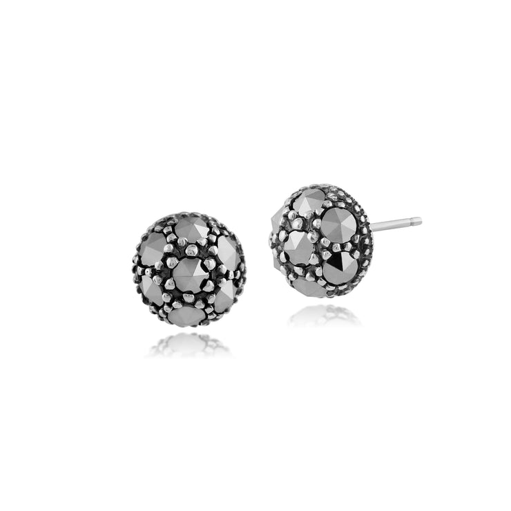 Classic Round Marcasite Stud Earrings in 925 Sterling Silver