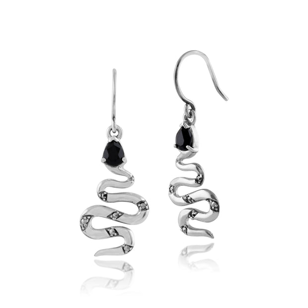 Art Deco Style Pear Black Spinel & Marcasite Snake Drop Earrings in 925 Sterling Silver