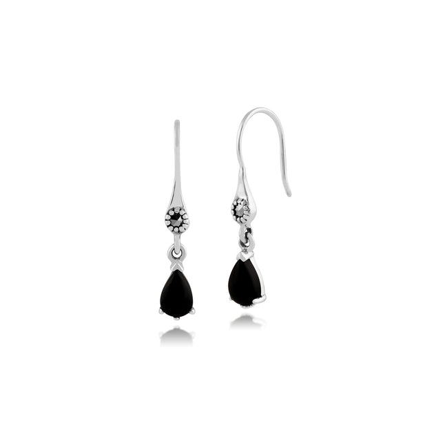 Art Nouveau Style Pear Black Onyx & Marcasite Drop Earrings in 925 Sterling Silver
