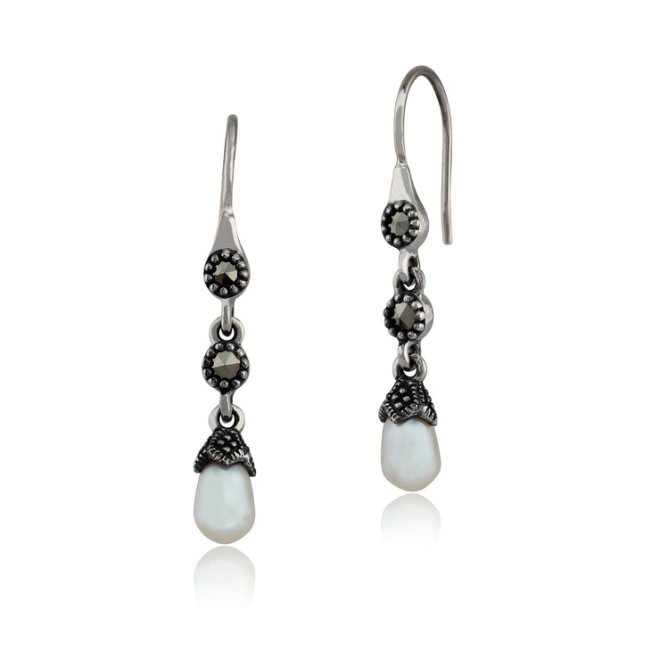 Art Nouveau Style Freshwater Pearl & Marcasite Drop Earrings in 925 Sterling Silver