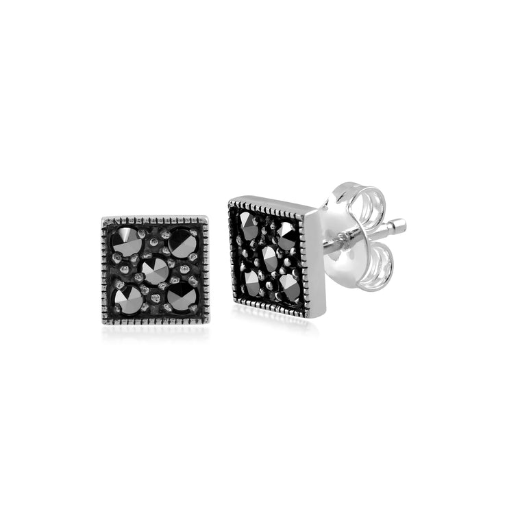 Art Deco Style Round Marcasite Stud Earrings in 925 Sterling Silver