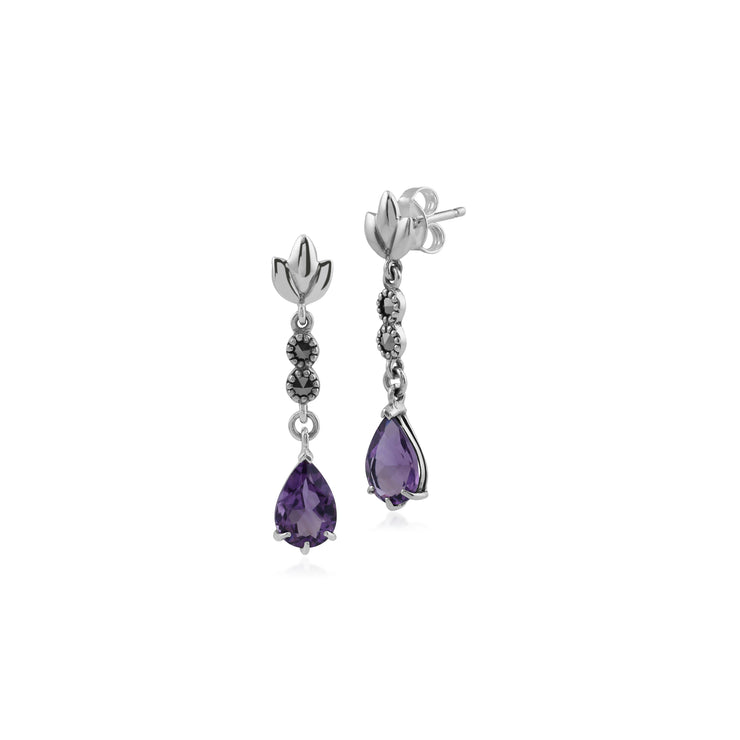 Art Nouveau Style Pear Amethyst & Marcasite Leaf Drop Earrings in 925 Sterling Silver