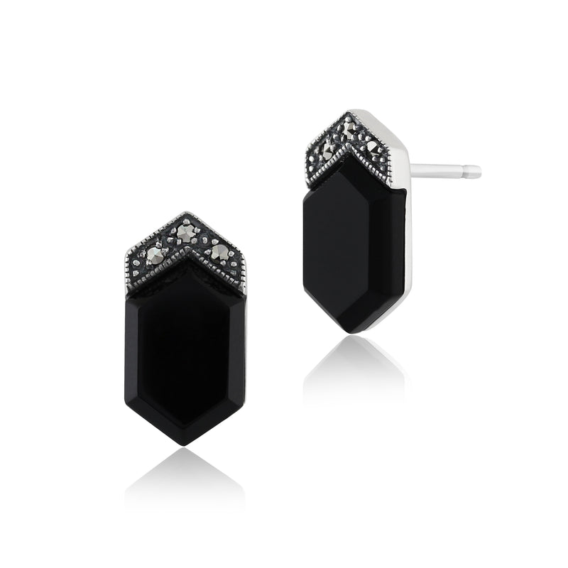 Art Deco Style Black Onyx  Cabochon & Marcasite Stud Earrings in 925 Sterling Silver
