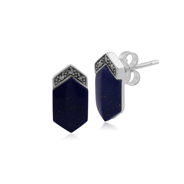 Art Deco Style Lapis Lazuli Cabochon & Marcasite Long Hexagon Studs in 925 Sterling Silver
