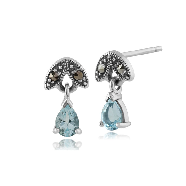 Art Nouveau Style Pear Aquamarine & Marcasite Drop Earrings in 925 Sterling Silver
