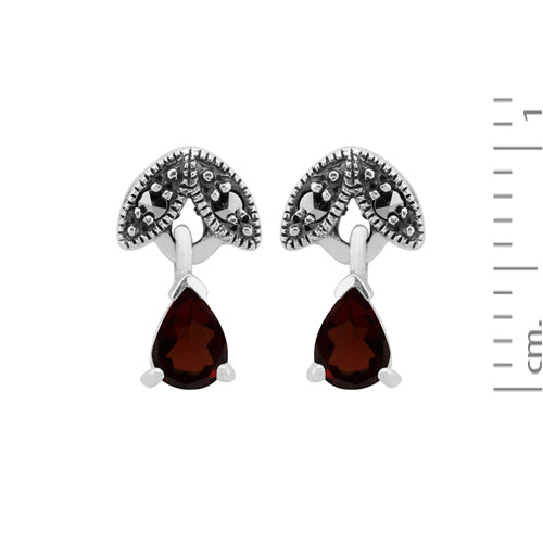Art Nouveau Style Pear Garnet & Marcasite Drop Earrings in 925 Sterling Silver