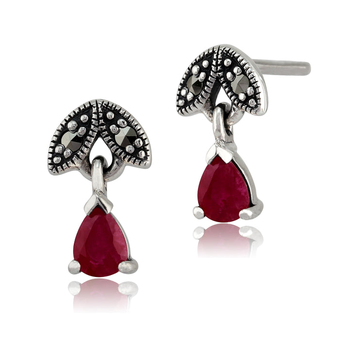 Art Nouveau Style Pear Ruby & Marcasite Drop Earrings in 925 Sterling Silver
