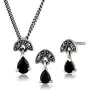Art Deco Sapphire Leaf Drop Earrings & Pendant Set Image 1