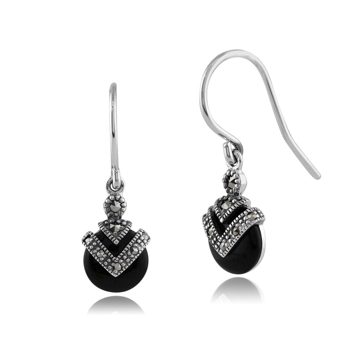 Art Deco Style Round Black Onyx & Marcasite Drop Earrings in 925 Sterling Silver