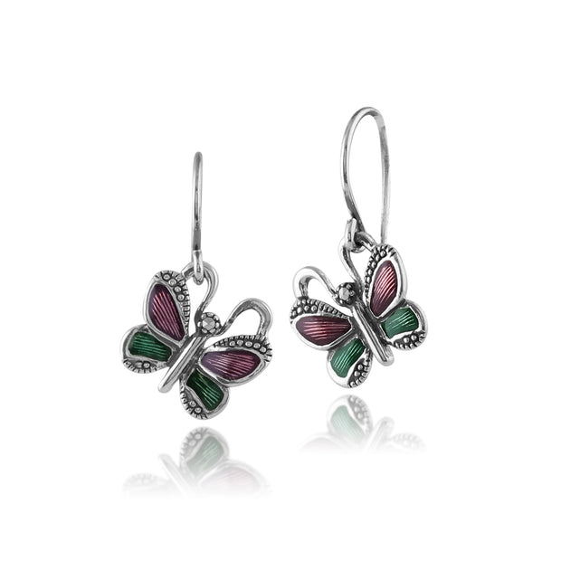 Art Nouveau Style Round Marcasite & Enamel Butterfly Drop Earrings in 925 Sterling Silver