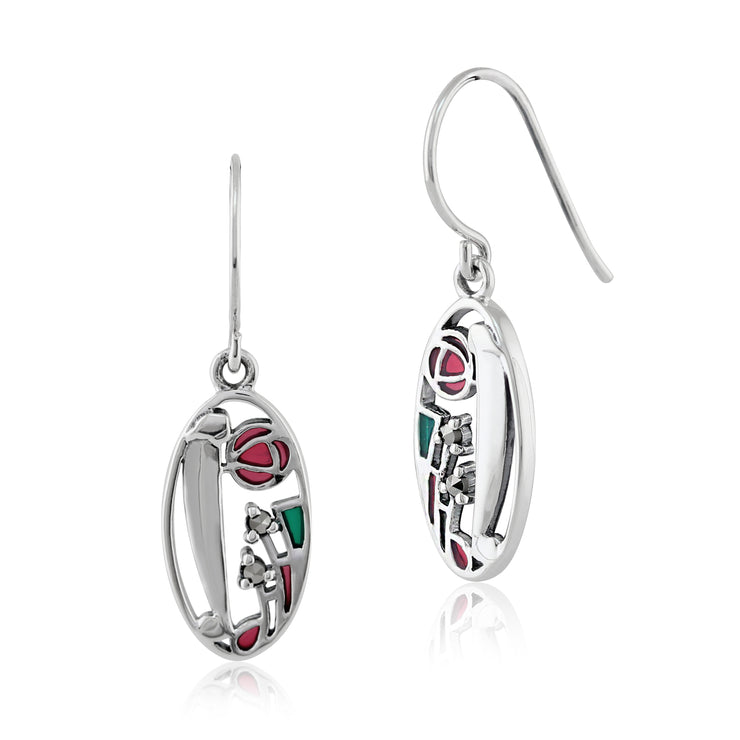 Rennie Mackintosh Round Marcasite & Enamel Drop Earrings in 925 Sterling Silver