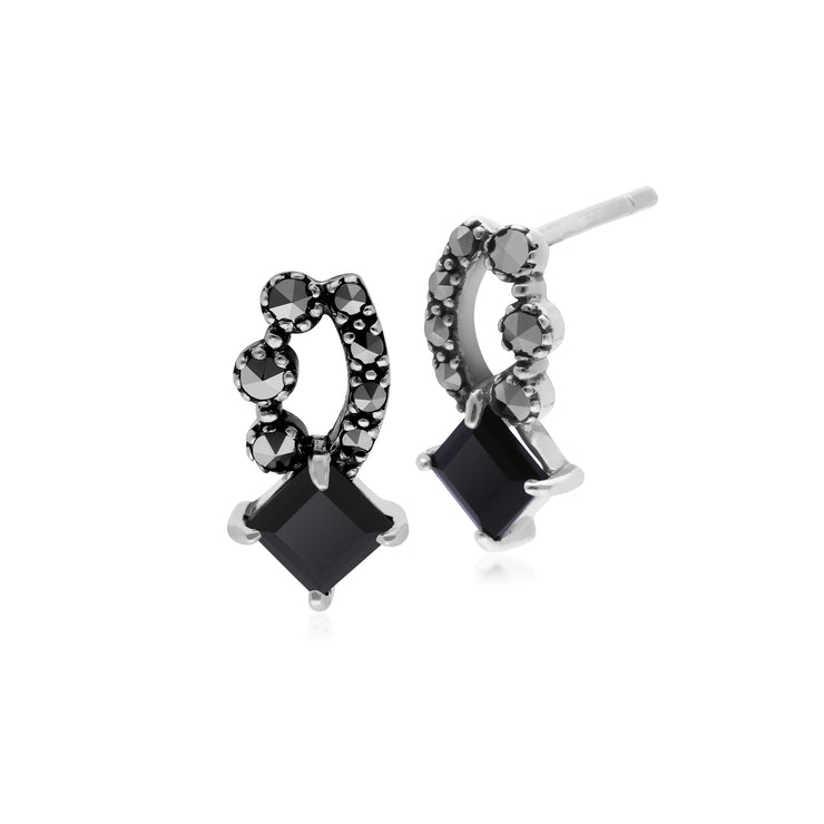 Art Nouveau Style Square Black Onyx  & Marcasite Stud Earrings in 925 Sterling Silver