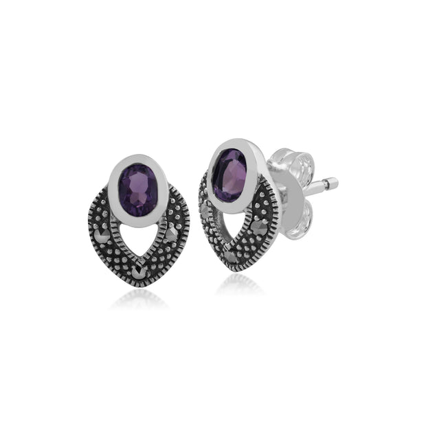 Art Deco Style Oval Amethyst & Marcasite Stud Earrings in 925 Sterling Silver