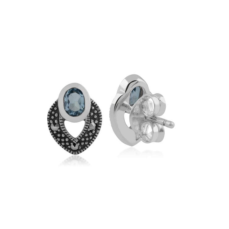Art Deco Style Oval Blue Topaz & Marcasite Stud Earrings in 925 Sterling Silver