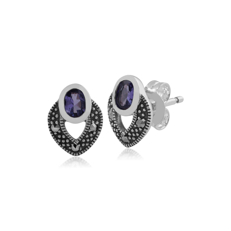 Art Deco Style Oval Tanzanite & Marcasite Stud Earrings in 925 Sterling Silver