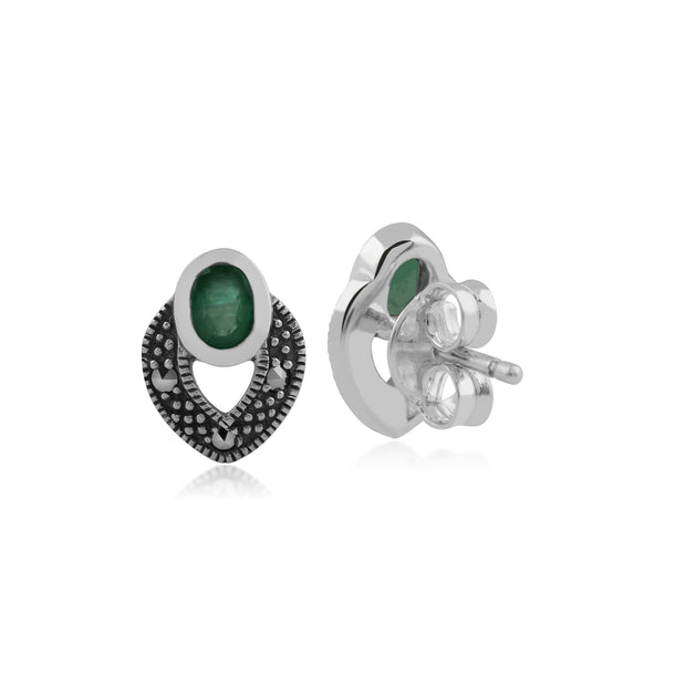 Art Deco Style Oval Emerald & Marcasite Stud Earrings in 925 Sterling Silver