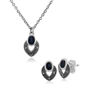 Art Deco Style Oval Sapphire & Marcasite Stud Earrings & Pendant Set in 925 Sterling Silver