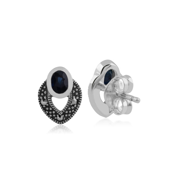 Art Deco Style Oval Sapphire & Marcasite Stud Earrings in 925 Sterling Silver Back