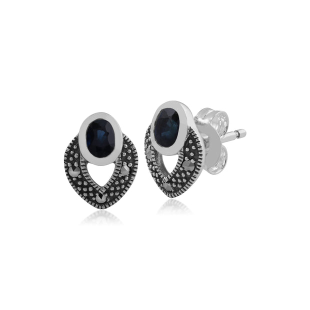 Art Deco Style Oval Sapphire & Marcasite Stud Earrings in 925 Sterling Silver