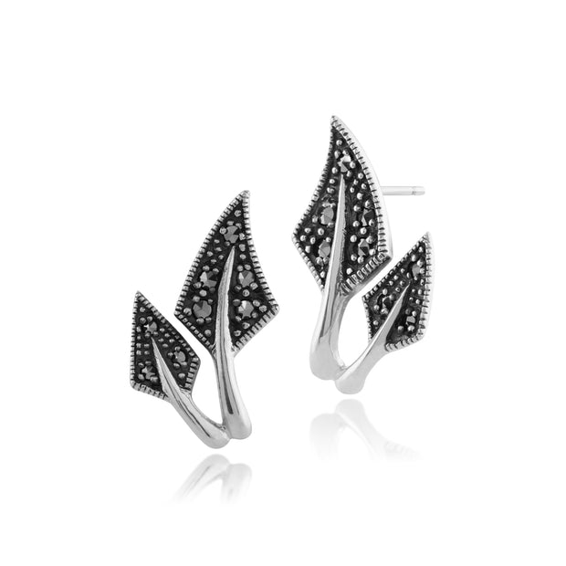 Art Nouveau Style Pear Marcasite Leaf Stud Earrings in 925 Sterling Silver