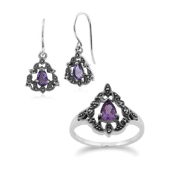Art Nouveau Style Pear Amethyst & Marcasite Garland Drop Earrings & Ring Set in 925 Sterling Silver