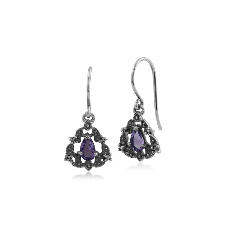 Art Nouveau Style Pear Amethyst & Marcasite Garland Drop Earrings in 925 Sterling Silver