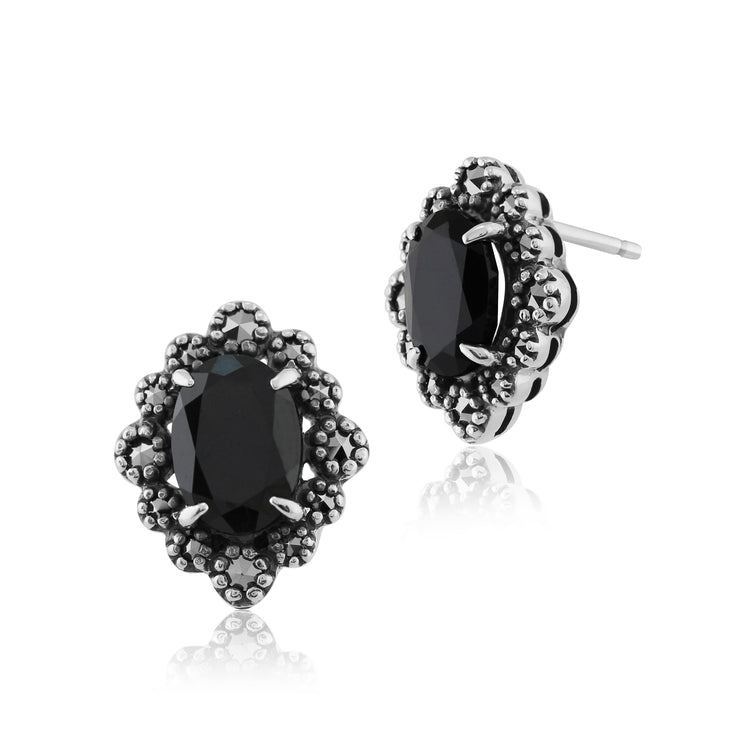 Art Deco Style Oval Black Spinel & Marcasite Stud Earrings in 925 Sterling Silver