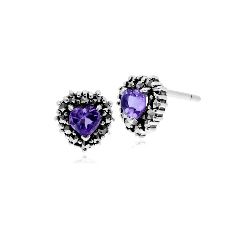 Classic Heart Amethyst & Marcasite Halo Heart Stud Earrings in 925 Sterling Silver